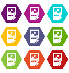 tested ink paper with printer marks icon set color vector image vector image