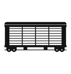 Train cargo wagon black simple icon vector image