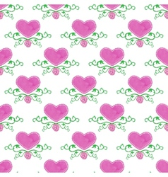 Watercolor seamless pattern with victorian heart vector