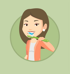 woman brushing her teeth vector image