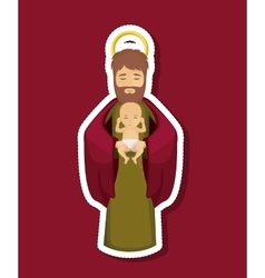 Joseph cartoon and baby of holy night design vector