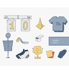 Hand drawn creative set with soccer objects good vector