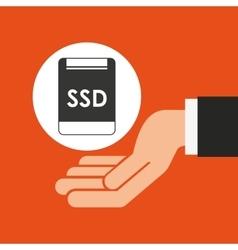 Hands businessman data ssd card vector