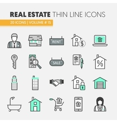 Real estate thin line icons set vector
