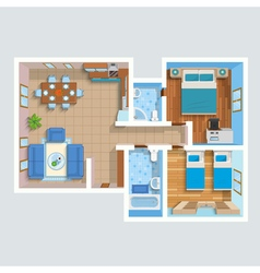 Top view flat interior plan vector