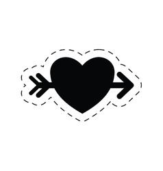 Romantic heart love arrow pictogram vector