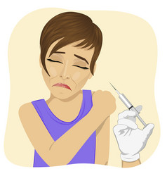 Sad young woman getting vaccination procedure vector