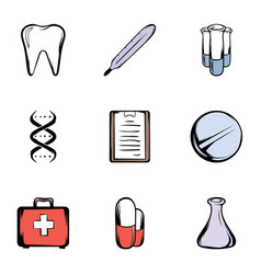 Medical things icons set cartoon style vector
