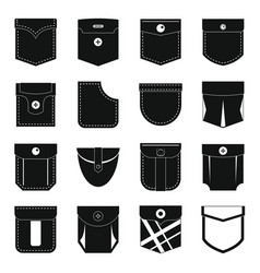 Pocket types icons set simple style vector