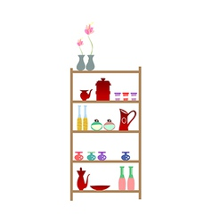 Bottles placed on the shelf vector