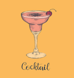 Exotic cocktail margarita cherry sketch cocktail vector
