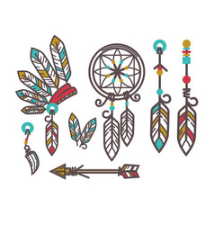 Authentic indjun culture objects with feathers vector