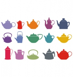 Colorful teapots vector