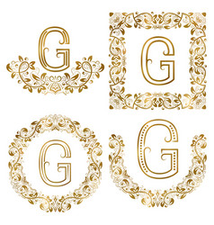 Golden g letter ornamental monograms set heraldic vector