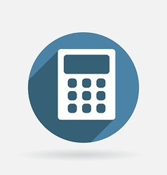 Calculator circle blue icon with shadow vector