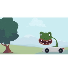 Green lizard cartoon vector
