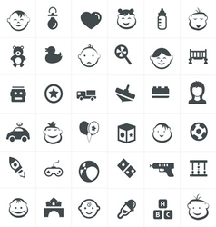 Children And Toy Icons Set vector image