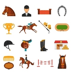 Flat color icons set with horse equipment vector