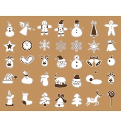 Icons with white stroke christmas vector