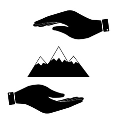 Mountain in hand icon vector