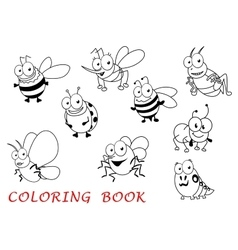 Cartoon isolated isect animals set vector