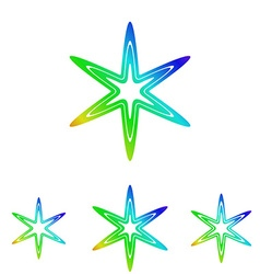Rainbow line star logo design set vector