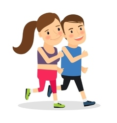 Young fitness runners vector