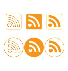 Rss icons of round and square shapes orange vector