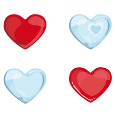 Red blue hearts vector