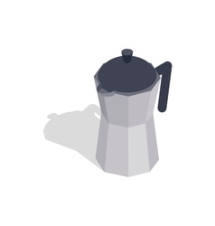 Steel coffee pot icon isometric 3d style vector