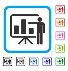 Bar chart presentation framed icon vector