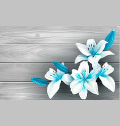 blue and white flowers on wood vector image vector image