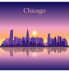 Chicago city skyline silhouette background vector image vector image