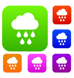Cloud with rain drops set collection vector