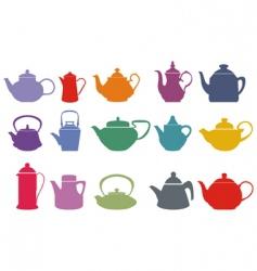 Colorful teapots vector