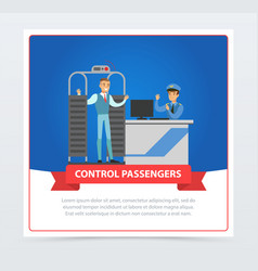 Control passengers at the airport vector