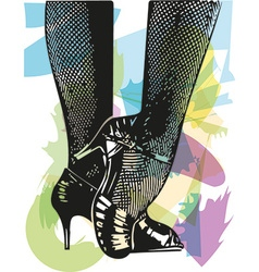 Female ballroom shoes latin and salsa dancer feet vector