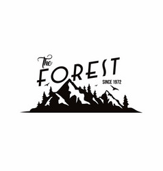Forest mountain adventure badge logo vector