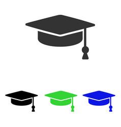 Graduation cap flat icon vector