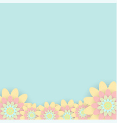 greeting card with colored flowers invitation vector image