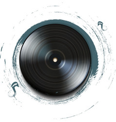 Grunge vynil record icon on background vector image