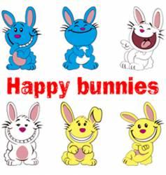 happy bunnies vector image