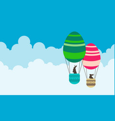 happy easter with air balloon vector image vector image
