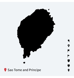 High detailed map of sao tome and principe with vector