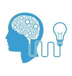 Human head brain cable bulb vector