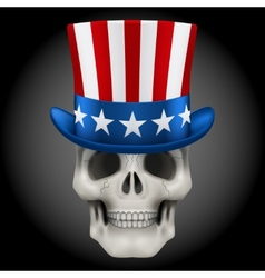 Human skull with uncle sam hat on head vector