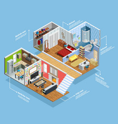 Interior Isometric Composition vector image vector image