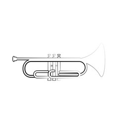 Isolated cornet outline musical instrument vector