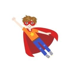 Kid in superhero costume flying vector