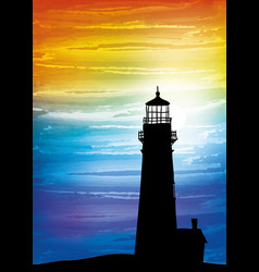 lighthouse on the sunset vector image